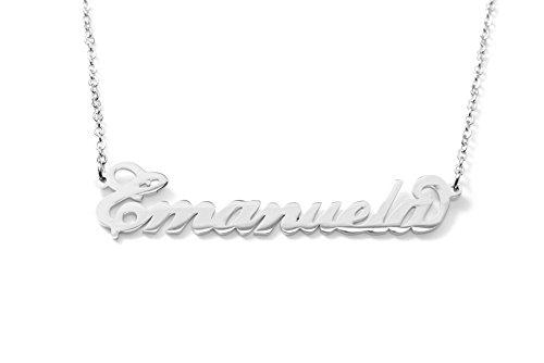 Collana con nome Emanuela in acciaio con catenina sottile a ovali regolabile