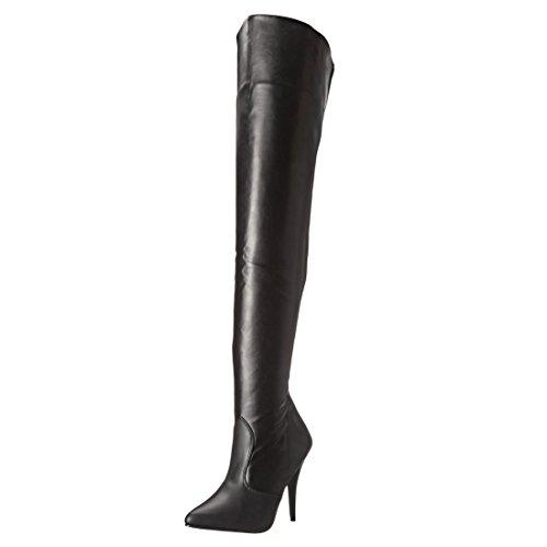 Pleaser Women's Seduce-3010 Thigh High Boot,Black PU,11 M US