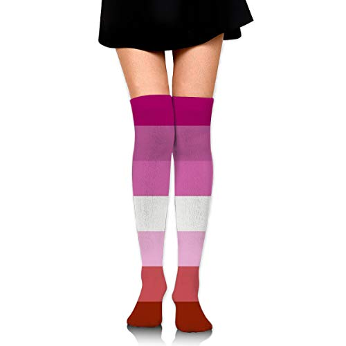 Lesbian Pride Flag Women Thigh High Socks Over Knee High Stockings Long Boot Socks