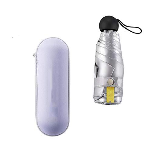 Cinco paraguas plegable de titanio plateado plástico protector solar y protección UV paraguas portátil ultraligero