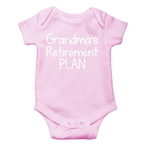 Grandma's Retirement Plan - Funny Soon to Be Grandfather - Cute Infant One-Piece Baby Bodysuit (6 Months, Pink)