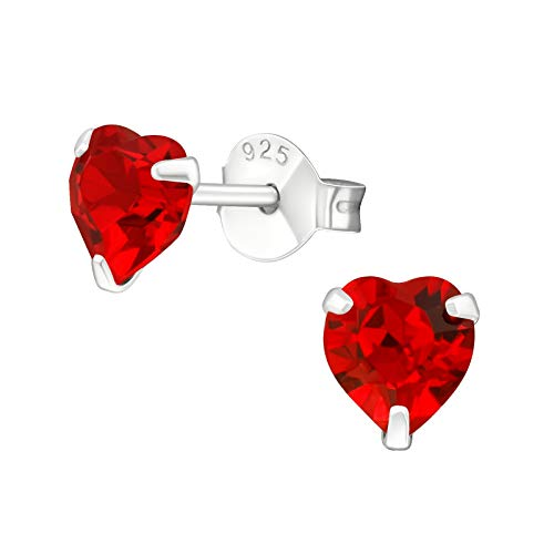 925 Sterling Silver with Crystals from Swarovski love heart earrings women 5mm in various sparkly colours anti allergy hypoallergenic nickel free jewellery ladies sensitive ears gift box (Light Siam)