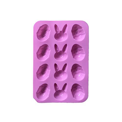 Toyvian Ostern Silikonform Osterhase Ostereier Backform Kuchenform 3D Seifenform Silikon Schokoladenform Hitzebeständige für Osterdeko 12 Gitter
