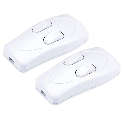 Allwway Blanco en línea Tirador AC 250V 1A Duplex de Encendido y Apagado de alimentación Directa Interruptor basculante para el Dormitorio Escritorio de la Tabla luz