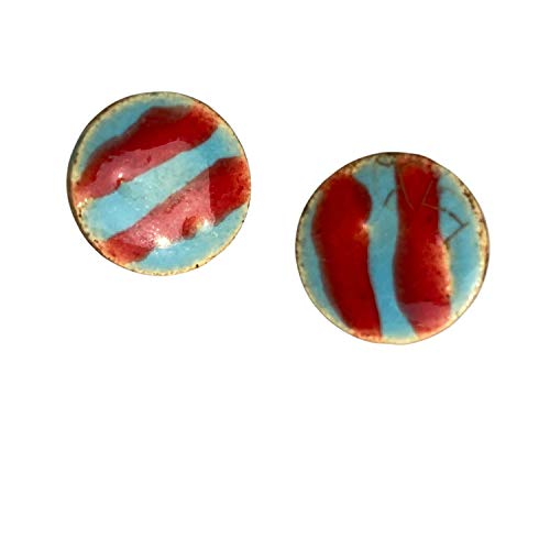 Unique Handmade Ceramic Stud Earrings for Women; Small Blue Circles With Red Stripes; Cute Jewellery Accessories; Gift for Her Mum Sister Girls Friends