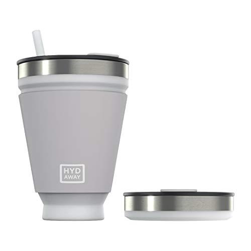 Vaso plegable para bebidas HYDAWAY | Taza portátil, aislada, para bebidas calientes y frías para café, té, batidos, cerveza, cócteles, viajes, viajes diarios, camping, eventos | 473ml de capac