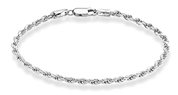 Miabella Solid 925 Sterling Silver Italian 2mm 3mm Diamond-Cut Braided Rope Chain Bracelet for Women Men 6.5 7 7.5 8 8.5 Inch Made in Italy  3mm 8.5 Inches  7.5 -7.75  wrist size