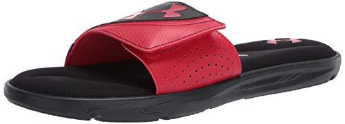 Under Armour Men's Ignite VI SL Slide Sandal, Black (001)/Red, 9 M US