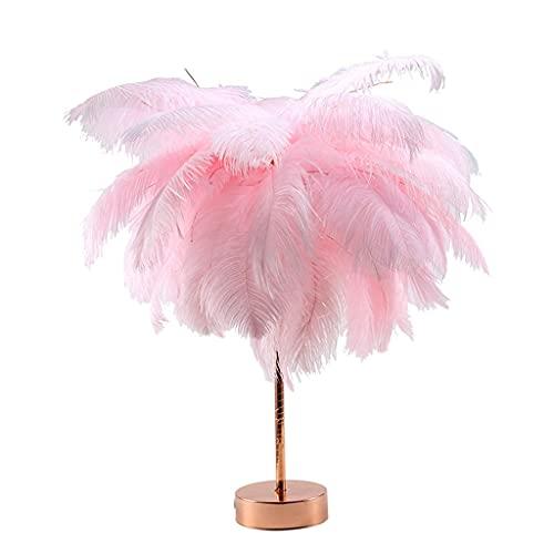 Lámpara de Mesa de Plumas, Lámpara de Noche LED Junto a la Cama con Mando a Distancia, USB y Alimentado por Batería, para Dormitorio, Luces Decorativas de Boda (Color : Pink)