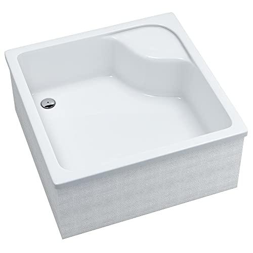 Plato de ducha con soporte, color blanco, estable, liso, soporte de poliestireno, cabina de ducha, plato de ducha de acrílico, cuadrado, R55, se puede azulejos, profundo (90 x 90 x 41 cm)