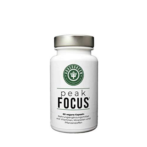 peakFOCUS - veganer BRAIN BOOSTER¹ mit natürlichem Piperin, Ginseng und Bacopa zur Unterstützung der geistigen Leistung² - 60 hochwertige Kapseln - ADDEDGREEN - ohne Koffein