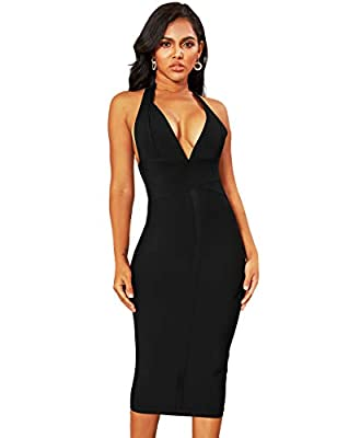 whoinshop Women's Backless Halter V Plunge Celebrity Night Club Party Bandage Bodycon Midi Dress Black XL