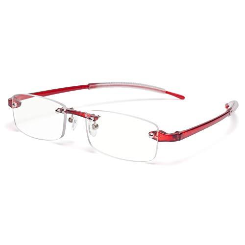 JIMMY ORANGE 老眼鏡 縁なし リムフレ 超弾力性 TR素材 ブルーライトカット PCメガネ 軽量 おしゃれ 4色 携帯用 メンズ レディース リーディンググラス ツーポイント(レッド,+2.0)