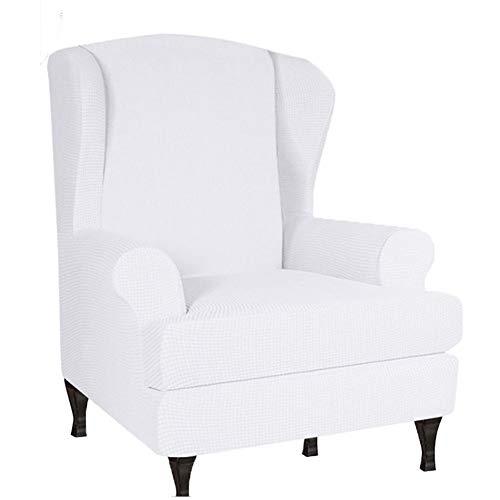 GOICC® Ohrensessel Schonbezug, Sessel-Überwürfe Jacquard Überzug Bezug Sesselhusse Elastisch Stretch Husse für Ohrensessel,Weiß