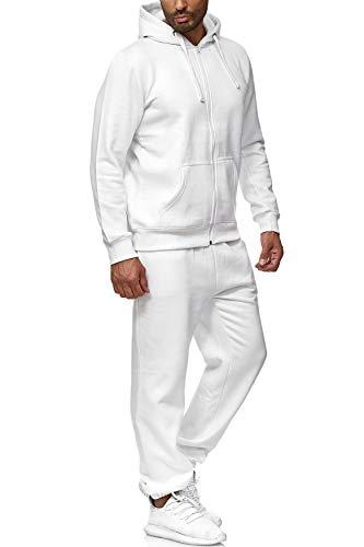 EGOMAXX Herren Jogginganzug einfarbig Basic Sportanzug2-TeiligTrainingsanzug Baggy, Farben:Weiß, Größe Hosen:XL