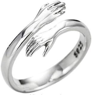 kelebin 2PCS Couple Hug Ring Adjustable Open Ring Women Mother Wife Girlfriend Lover