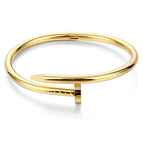 Chilits Titanium Steel Nail Bracelet Nail Cuff Bangle Fashionable Stainless Steel Screw Bracelet Creative Open Bracelet Jewelry for Women