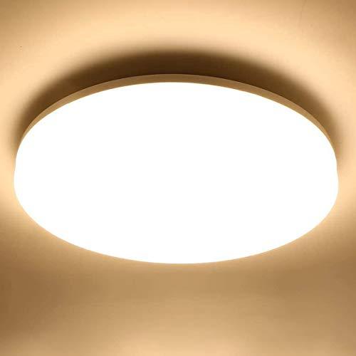LE 24W Deckenlampe, IP54 Wasserfest Badlampe, 3000K LED Deckenleuchte, 2400lm Lampen ideal für Badezimmer Balkon Flur Küche Wohnzimmer, Warmweiß Badezimmerlampe Ø33cm