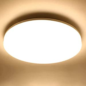 LE Flush Mount LED Ceiling Light Waterproof IP44, 9 inch 15W 1250lm 120W Equivalent, 3000K Soft Warm White Ceiling Fixture for Bedroom, Bathroom, Kitchen, Closet, Laundry, Porch, Hallway, Non Dimmable