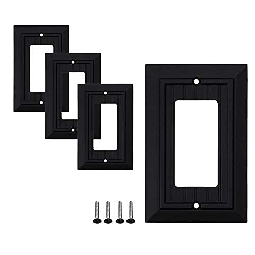 Single Decorator Wall Plates | Decorative Bamboo Classic beadboard Black Finish | Electric Outlet and…