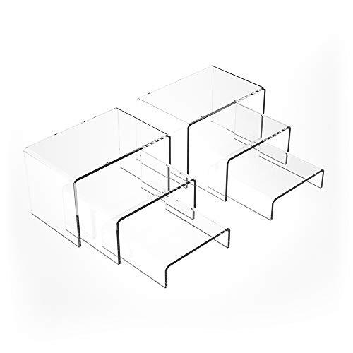 2 Juegos de Expositor de Elevador de Acrílico, Expositor Metacrilato Soporte de Acrílico Transparente Expositores de Joyería Exhibidores de Escaparate Expositores de Mesa (Transparente, 6Piezas)