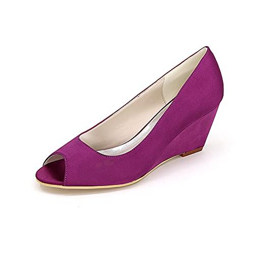 Zapatos De Novia De Satén con Punta Abierta Zapatos De Cuña Cómodos...