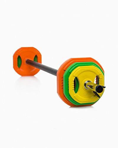 Goodbuy Set Completo Body Pump 28mm, Entrenamiento en el Hogar, Conjunto Completo para Fitness, 1x Barra 1,40m + 2X Topes + 6X Discos