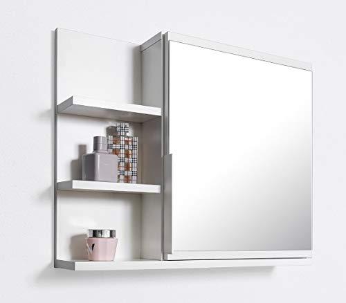 Domtech, Armadietto da bagno con specchio e ripiani, misura L, bianco