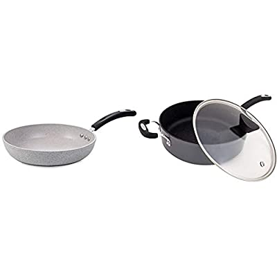 """12"""" Stone Earth Frying Pan by Ozeri & Stone Earth All-in-One Sauce Pan 100% APEO, GenX, PFBS, PFOS, PFOA, NMP and NEP-Free German-Made Coating, 5 L (5.3 Quart), Granite Gray"""