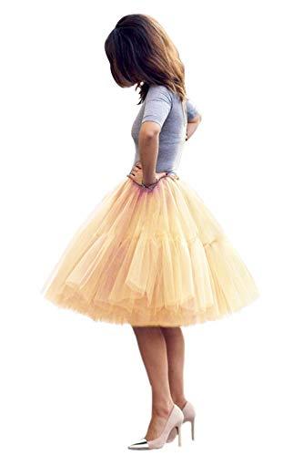 Tüllrock Damen Tutu Skirt 5 Lage Petticoat Ballettrock Unterrock Pettiskirt Champagner