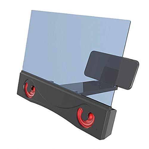 AERJMA Titular del teléfono móvil, lupa de la pantalla de la luz 6D anti-azul con el altavoz Bluetooth, Amplificador portátil de la pantalla del videojuego de la película de alta definición B