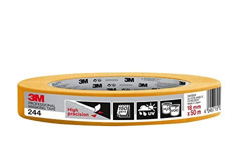3M 244 Profi Malerband für scharfe Farbkanten, UV-beständig, innen und außen, 18 mm x 50 m