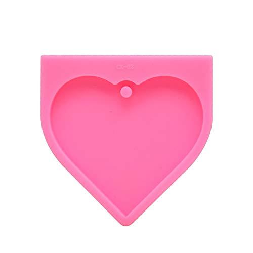 HIAHA Moule à Gâteau En Silicone Bricolage, Fondant De Forme De Chaîne De Clé De Grand Coeur 3D Pour Les Outils De Moule De Cuisson De Noël Rose