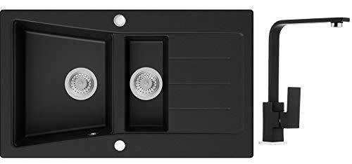 Küchenspüle Schwarz 88 x 52 cm, Spülbecken + Wasserhahn Küche + Siphon, Granitspüle ab 60er Unterschrank in 5 Farben mit Armatur Varianten, Einbauspüle von Primagran