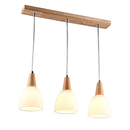 LED Holz Glas Pendelleuchte Höhenverstellbar Esstisch Lampe E27 Kronleuchter Holzlampe 3-Flammig Hängelampe Esszimmerlampe Vintage Industrial Küche Hängeleuchte Innen Deko Decke Leuchte