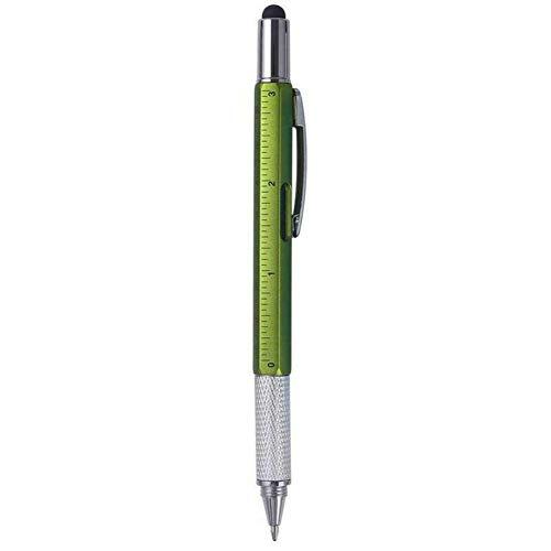 Multifunctionele balpen, 6-in-1 touchscreen-pen, balpen, liniaal, nivelleerapparaat, kruiskopschroevendraaier en platte kop. groen