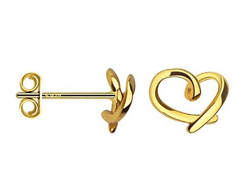 SOFIA MILANI Pendientes Mujer Corazón Plata de Ley Chapados en Oro Amarillo 20642