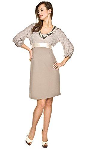 Elegantes und bequemes Umstandskleid, Brautkleid, Hochzeitskleid für Schwangere Modell: Dolce, beige, XL