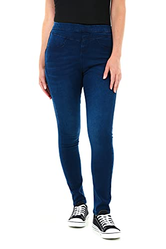 M17 Damen Women Ladies Denim Sculpt Pull On Casual Cotton Trousers Pants with Pockets (10, Blue) Jeans Jeggings Skinny Fit Hose