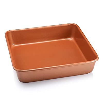 """Gotham Steel Pro Nonstick Ultra Durable Bakeware - Nonstick Copper Square Baking Tin - 9.5"""" x 9.5"""", Aluminum with Quick Release Ceramic Coating, Dishwasher Safe"""