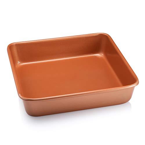 """Gotham Steel Bakeware Nonstick Square Baking Pan, Square Cake Pan, Brownie Pan – Large 9.5"""" x 9.5"""" x 2"""" Size, Even Heat & Non-Warp Technology, Ultra Nonstick Ceramic Coating, Dishwasher Safe"""