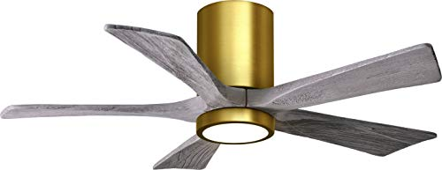 Matthews IR5HLK-TB-WA-42 Irene 42' Outdoor Hugger Ceiling Fan with LED Light and Remote & Wall Control, 5 Wood Blades, Textured Bronze