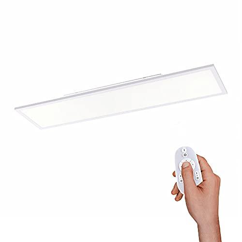LED Panel dimmbar, 120x30cm, Decken-Lampe mit indirekter Deckenbeleuchtung | Farbtemperatur mit Fernbedienung einstellbar, warmweiss - kaltweiss | Decken-Leuchte flach für Wohnzimmer, Küche und Flur