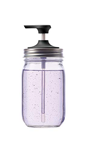 "Jarware Soap Pump for Regular Mouth Mason Jars, 6"", Black"