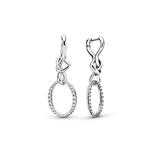 Pandora Jewelry Oval Knotted Heart Drop Cubic Zirconia Earrings in Sterling Silver