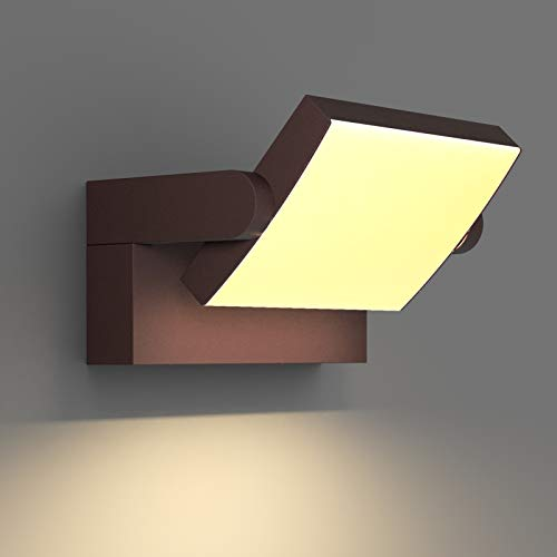 Klighten LED Lampade da Parete Esterno Interno 24W IP65, Lampada Muro Regolabile Applique da Parete Moderno in Alluminio per Ingresso Balconi Giardini, Bronzo, Bianco Caldo 2700K-3000K