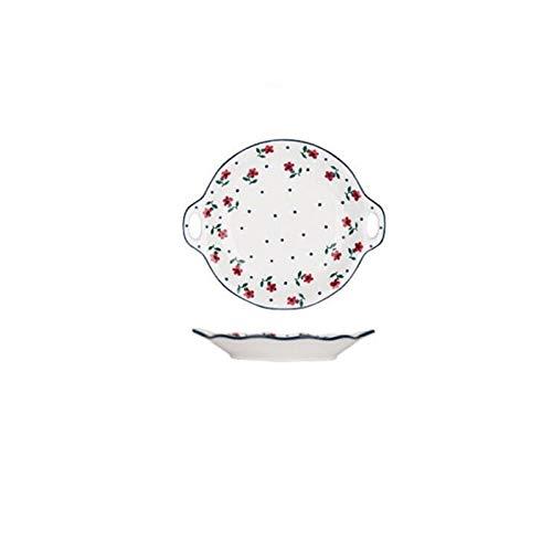 SASCD Flores pintadas a Mano de la Placa de Cena Conjunto Placa de cerámica del vajilla de Cocina Alimentación Conjunto Platos de Ensalada de arroz Fideos 1pc Soup Bowl (Color : Binaural Plate)