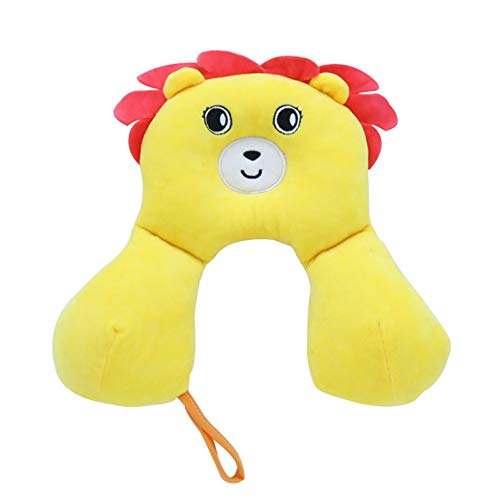 Almohada de viaje para bebé, caja de cartón con forma de animal, soporte para el cuello y la cabeza del niño para el asiento del automóvil y la silla de paseo (León amarillo)