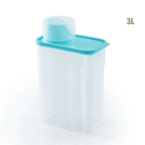 (1 stuks) Huishoudelijke transparante behandelde waspoeder container plastic opbergdoos plastic waspoeder opbergdoos put huishoudgrootte aantal behandelde waspoeder opbergdoos