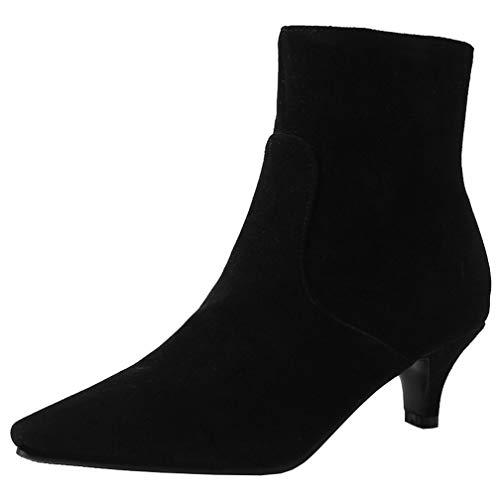 AIMODOR Spitze Stiefeletten Damen Kleiner Absatz Ankle Boots mit Reißverschluss Kitten Heels Pointed Toe Kurzstiefel schwarz 38